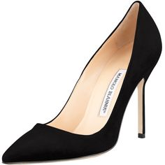 Manolo Blahnik BB Suede 105mm Pump ($595) ❤ liked on Polyvore featuring shoes, pumps, heels, black, footwear, shoes pumps classic, heel pump, black heel pumps, pointed toe shoes and black heel shoes