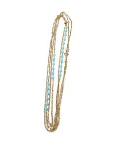 Little Edie Sea Spray Necklace. Long Gold necklace with turqoise beads. WANT BAD