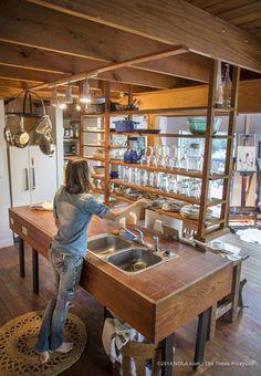 Rebecca Rebouche's rustic kitchen in the Covington woods