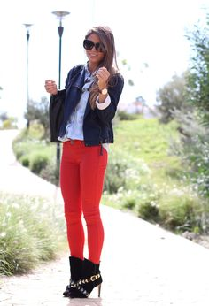@roressclothes clothing ideas #women fashion black jacket, orange Colored Jeans for Spring 2014