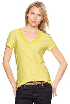 4e0fba880c9d Gap Short Sleeve Essential V-neck Tee Yellow And White Stripes Nwt T Shirt  Yellow