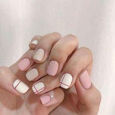 57 Pretty and Inspiring Nail Art Designs for Short Nails – Korean Nail Art, Korean Nails, Nail Art Stripes, Striped Nails, Simple Nail Art Designs, Best Nail Art Designs, Striped Nail Designs, Minimalist Nails, Trendy Nail Art