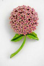 Vintage Designer WEISS Pink Enamel RHINESTONE Figural FLOWER Pin BROOCH