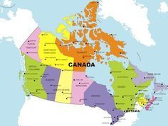 Printable Map of Canada With Provinces and Territories, and Their ...