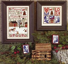 Prairie Schooler February - Cross Stitch Pattern. February brings hearts ornate and reveals if Winter leaves early or late. Models stitched on 32 count Lambswoo