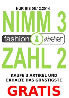 Dezember große Spar - Aktion - Kaufe 3 Zahle 2 - fashion atelier - Fashion Boutique Roding für Abendmode Accessoires...