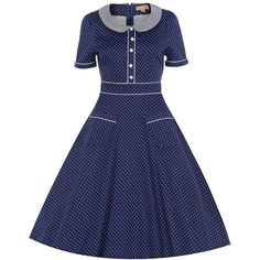 Rhonda' returns in a beautiful navy polka dot print! This Victorian inspired tea dress is perfect for all occasions, day and night! Sotho Traditional Dresses, Pedi Traditional Attire, South African Traditional Dresses, Short African Dresses, Latest African Fashion Dresses, Dress Fashion, Seshweshwe Dresses, Cotton Dresses, Party Dresses