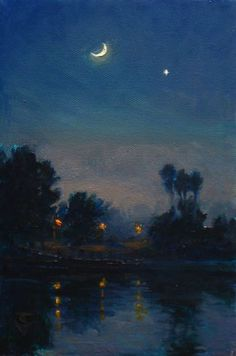 I have always loved the dimly lit style of nocturne paintings. Here are a few of them I really admire. Aesthetic Painting, Aesthetic Art, Nocturne, Art Sketches, Art Drawings, Arte Van Gogh, Pretty Art, Oeuvre D'art, Landscape Paintings