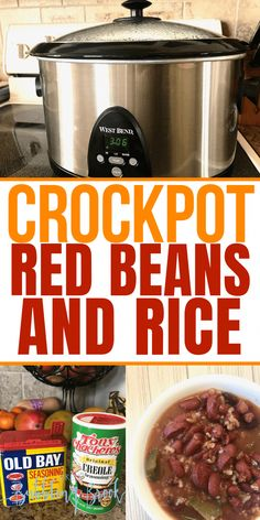 Crockpot red beans and rice recipe pin Crock Pot Red Beans and Rice Recipe – A traditional Cajun red beans and rice recipe the whole family will love, made super easy and budget friendly in your slow cooker or crock pot! Red Beans And Rice Recipe Crockpot, Red Bean And Rice Recipe, Slow Cooker Red Beans, Healthy Crockpot Recipes, Slow Cooker Recipes, Cooking Recipes, Crockpot Meals, Crockpot Dishes, Red Beans And Rice Recipe Vegetarian