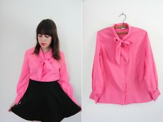 Vintage Hot Pink Pussybow Blouse by sergeantfox on Etsy, $22.00