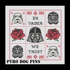 In Vader We Trust Pattern/PDF - 'Star Wars'  Cross Stitch Sampler - INSTANT DOWNLOAD