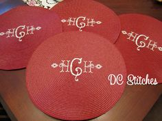 ROUND PLACEMATS set of four Personalized Monogrammed by dcstitches, $42.00