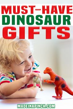 Are you searching for great dinosaur toys for toddlers? My boys love dinos, so we've tried them all. Here are my top picks for the best dinosaur toys to give as gifts (for the holidays or any time of the year!). I love a good gift guide. Gift guides offer inspiration when I can't seem to find it on my own. And I always find something amazing that I never would have thought of on my own. | Made in A Pinch @madeinapinch #toddlergifts #bestdinosaurgifts #toddlergifts #madeinapinch Dinosaur Toys For Toddlers, The Good Dinosaur Toys, Dinosaur Gifts, Toddler Fun, Toddler Gifts, Toddler Toys, Kids Learning Toys, Activities For Kids, Minnie Mouse Toys