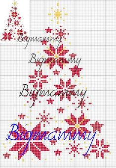 Free snowy christmas tree in cross stitch | Via Tanja Langvad