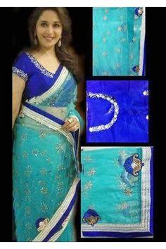 Bottle Green Net Saree :- One of the many Sarees worn by Madhuri Dixit. This light bottle green Saree in Net is all over decorated with stones in the form of flower motifs. A royal blue plain lace along with a sequins lace encloses the Saree from all four sides. The Saree is paired with a royal blue embroidered dupion blouse with a satin inner lining. - See more at: http://www.daindiashop.com/bollywood-replica/bottle-green-net--saree#sthash.LjTzFoi9.dpuf