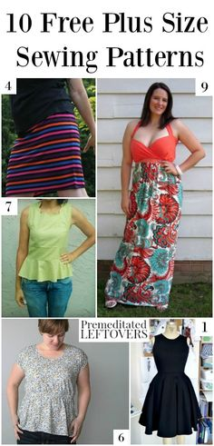 10 Free Plus Size Patterns including free plus size dress patterns, plus sized top patterns, plus size skirt patterns, and other free plus size patterns. Sewing tutorial and DIY fashion design for women. Plus Size Top Pattern, Plus Size Sewing Patterns, Skirt Patterns Sewing, Clothing Patterns, Pattern Sewing, Blouse Patterns, Skirt Sewing, Coat Patterns, Pattern Drafting