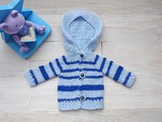 """Doll's cardigan/ hooded cardigan/ knitted cardigan/ clothes for Waldorf dolls/ Waldorf Doll cardigan/ (fits 13"""" doll) blue striped by EvaiDolls on Etsy"""