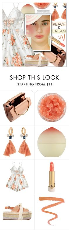 """She's a Peach: Peach Lipstick"" by ansev ❤ liked on Polyvore featuring beauty, Sara Happ, Tony Moly, Whiteley, Chloé, Ellis Faas and peachlipstick"