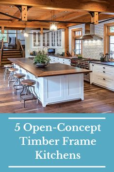 5 Open-Concept Timber Frame Kitchens In a timber frame house, a smart open-concept kitchen layout features a balance between storage, function and style. Get inspired with these timber frame kitchens that have an open concept. A Frame Cabin, A Frame House, Timber Kitchen, New Kitchen, Kitchen Interior, Kitchen Decor, Kitchen Ideas, Coastal Interior, Eclectic Kitchen