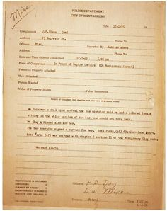 The police report on Rosa Parks in Montgomery, Alabama, 1955
