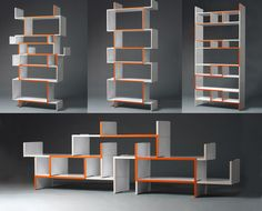 DING 3000 - ODERSO is a shelf-system consisting of a single module. The geometry of this base-module in combination with the making of the edges renders the possibility of a multidimensionally modifiable and thus extremely variable assembly: by simple piling equal modules can be assembled to sideboards, shelves or room dividers.