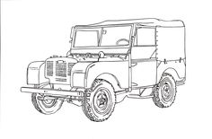 Land Rover Series I Ink Drawing Landrover Defender, Land Rover Defender 110, Land Rover Pick Up, Adventure Car, Art Of Manliness, Jungle Party, Car Drawings, Car Sketch, Linocut Prints