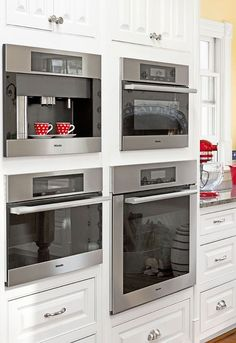 Installed in a cabinet wall built in coffee makers grind brew and