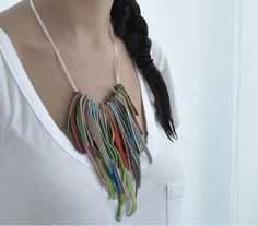 fringe necklace bohemian jewelry colorful leather by stellachili, €28.00