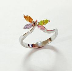 Mix Cubic Zirconia 925 Sterling silver ring handmade dragonfly designed cute  #Handmade #Band