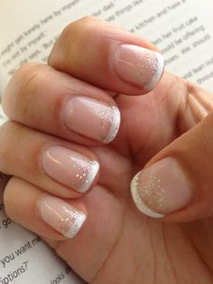 Gelish glitter French manicure using sleek white and waterfield