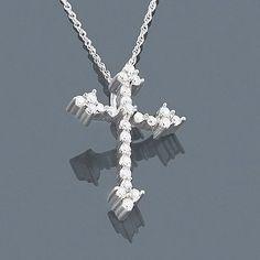 14K Small Diamond Cross Pendant 0.30ct
