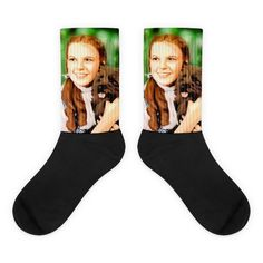 These socks are extra comfortable thanks to their cushioned bottom. The foot is black with artwork printed along the leg with crisp, bold colors that won't fade. Cool Socks, Awesome Socks, Us Man, Wizard Of Oz, Artwork Prints, Bold Colors, Legs, Cotton, Black
