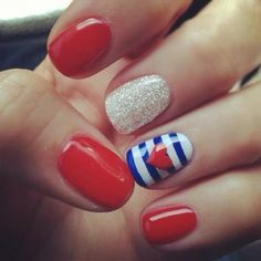 Love these nails for summer time! Red white and blue.
