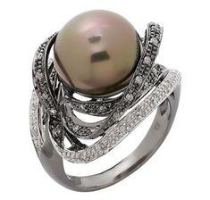 14K White Gold Hematite Plate Tahitian Pearl & Diamond Ring