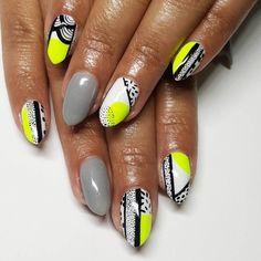 Contemporary Aboriginal inspired nail art in grey white black and neon yellow.  by thenailbarsydney http://ift.tt/1NRMbNv