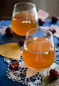 Harvest Punch: ginger, dried jujubes, cinnamon sticks, asian pears; add sugar for a quick cold fixer :)