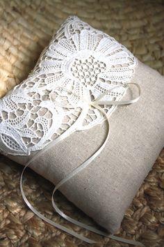 Ava. Antique Lace Ring Bearer Pillow. Ready to Ship. Eco-Friendly Item. $45,00, via Etsy.