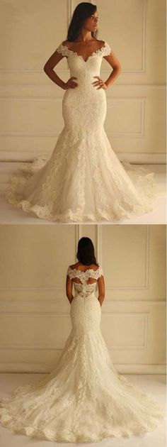 Off the Shoulder Mermaid Lace Long Wedding Dresses, BG51596 #weddingdress #wedding #bride