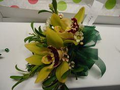 Cymbidium orchid corsage designed by Alma Blooms Gold Corsage, Corsage Wedding, Orchid Corsages, Blooms Florist, Green Orchid, Cymbidium Orchids, Next Wedding, Yellow Wedding, Wedding Designs