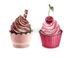 вишневые и шоколадные капкейки — Стоковое фото © Sashsmir #59829323