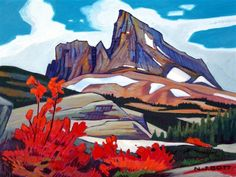 Red Leaf, Black Tusk, by Nicholas Bott Landscape Art, Landscape Paintings, Watercolor Paintings, Landscapes, Watercolours, Canadian Painters, Canadian Artists, Desert Art, Mountain Art