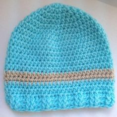 """This version of """"My Little Baby"""" Newborn Hat is crochet. The pattern includes instructions for hats crocheted in the round made in both baby weight and worsted weight yarns."""