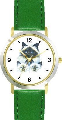 Birman Cat Mom and Kittens Cat - JP - WATCHBUDDY® DELUXE TWO-TONE THEME WATCH - Arabic Numbers - Green Leather Strap-Children's Size-Small ( Boy's Size & Girl's Size ) WatchBuddy. $49.95