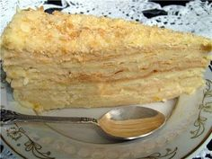 Delicious and delicate cake Napoleon from unleavened dough and puff ready. Russian Desserts, Russian Recipes, Kosher Recipes, Cooking Recipes, Napoleon Torte, Cake Recipes, Dessert Recipes, Traditional Cakes, Cupcakes