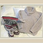 Baby jumper with fair isle hat & boots  - via @Craftsy