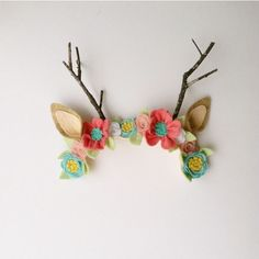 Little Fawn Deer Forest wool felt antler Flower crown ($28) ❤ liked on Polyvore featuring accessories, hair accessories, felt garland, felt hair accessories, floral crown, felt crown and flower garland