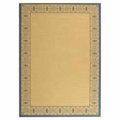 Natural and blue indoor/outdoor rug with a scrolling border.    Product: RugConstruction Material: PolypropyleneColor: Natural and blueFeatures: Suitable for indoor or outdoor useNote: Please be aware that actual colors may vary from those shown on your screen. Accent rugs may also not show the entire pattern that the corresponding area rugs have.