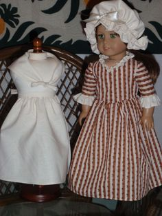 1770s 4 Pc Colonial Work Dress Apron Mob by alohagirldollclothes