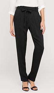 Elegante Hose mit Bindegürtel in schwarz