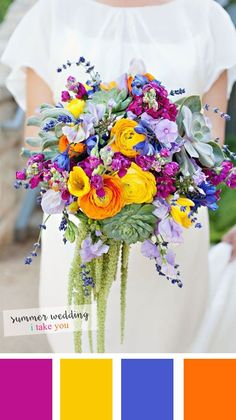 summer and spring wedding bouquets, diy succulent wedding bouquets, purple orange blue and yellow wedding colors, outdoor wedding ideas Wedding Color Combinations, Wedding Color Schemes, Colour Schemes, Summer Wedding Colors, Summer Weddings, Bright Wedding Colors, Colourful Wedding Flowers, Garden Weddings, Summer Wedding Flowers